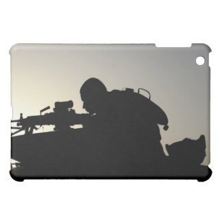 Silhouette of a Squad Automatic Weapon gunner iPad Mini Case