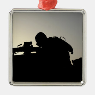 Silhouette of a Squad Automatic Weapon gunner Metal Ornament