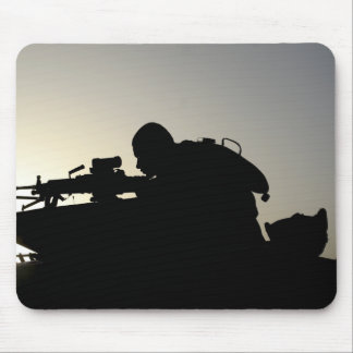 Silhouette of a Squad Automatic Weapon gunner Mouse Pad