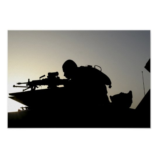 Silhouette of a Squad Automatic Weapon gunner Poster