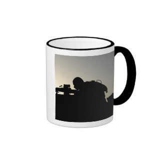 Silhouette of a Squad Automatic Weapon gunner Ringer Mug