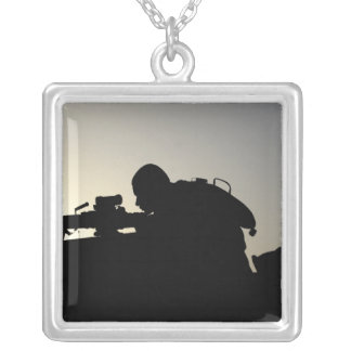Silhouette of a Squad Automatic Weapon gunner Silver Plated Necklace