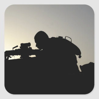 Silhouette of a Squad Automatic Weapon gunner Square Sticker