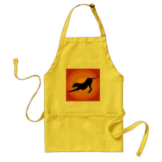 Silhouette of a Stretched Dog on Orange Background Apron