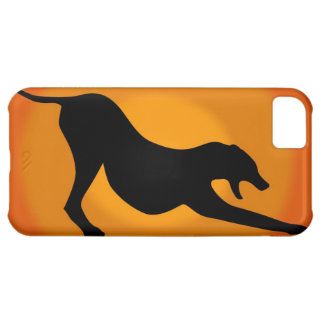 Silhouette of a Stretched Dog on Orange Background iPhone 5C Cover