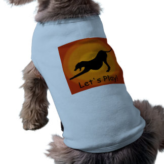 Silhouette of a Stretched Dog on Orange Background Tee