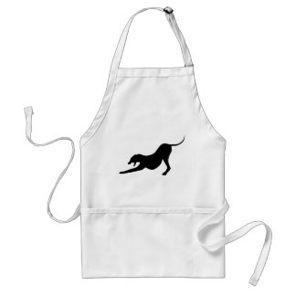 Silhouette of a Stretching Dog Aprons