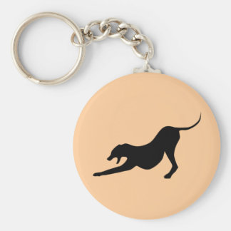 Silhouette of a Stretching Dog Keychain