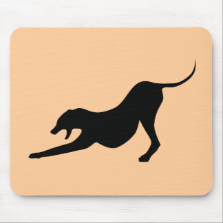 Silhouette of a Stretching Dog Mouse Pad