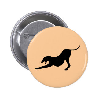 Silhouette of a Stretching Dog Pinback Button