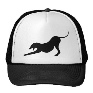 Silhouette of a Stretching Dog Trucker Hat