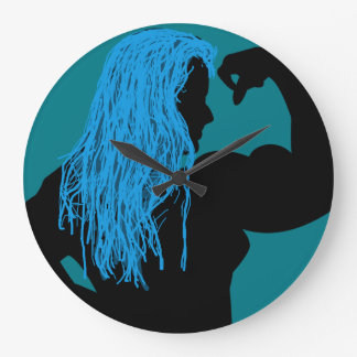 Silhouette of a Strong Woman - Blue Hair Large Clock