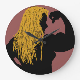 Silhouette of a Strong Woman - Orange Hair Large Clock