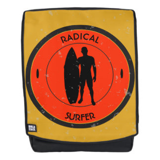 Silhouette ofa surferandsurfboard backpack