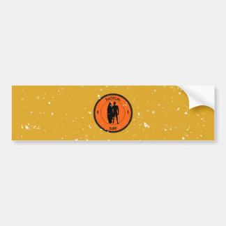 Silhouette ofa surferandsurfboard bumper sticker