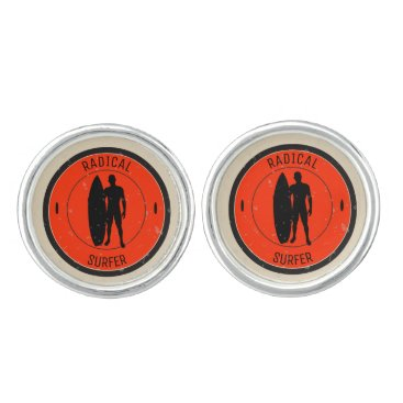 Beach Themed Silhouette of a surfer and surfboard cufflinks