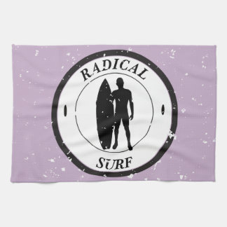 Silhouette of a surfer and surfboard kitchen towel