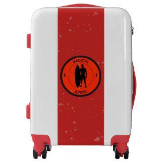 Silhouette ofa surferandsurfboard luggage