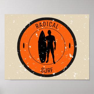 Silhouette ofa surferandsurfboard poster