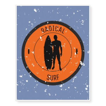Beach Themed Silhouette of a surfer and surfboard temporary tattoos