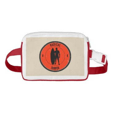 Beach Themed Silhouette of a surfer and surfboard waist bag