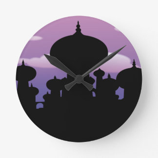 Silhouette of a temple round clock