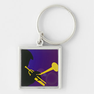 Silhouette of a Trumpet Player on Purple and Blue Keychain