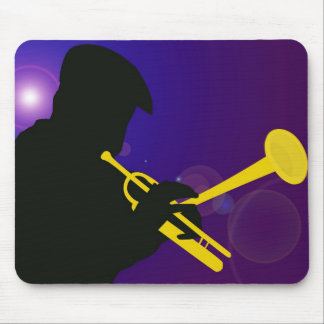 Silhouette of a Trumpet Player on Purple and Blue Mousepads