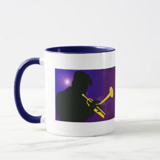 Silhouette of a Trumpet Player on Purple and Blue Mug
