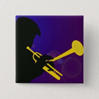 Silhouette of a Trumpet Player on Purple and Blue Pinback Button