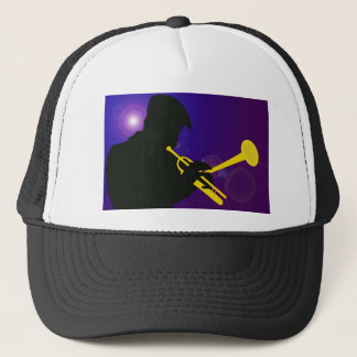 Silhouette of a Trumpet Player on Purple and Blue Trucker Hat