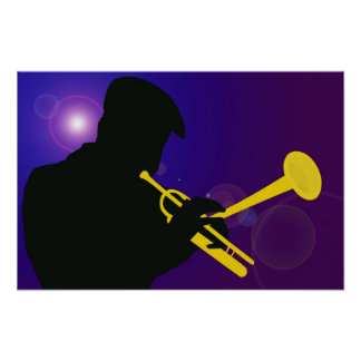 Silhouette of a Trumpet Player on Purple / Blue Poster