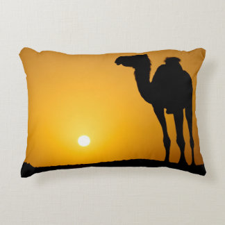 Silhouette of a wild camel at sunset decorative pillow