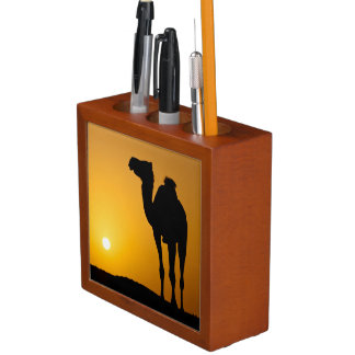 Silhouette of a wild camel at sunset pencil holder