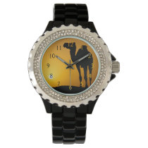 Silhouette of a wild camel at sunset wrist watch