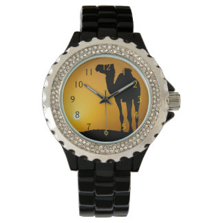 Silhouette of a wild camel at sunset wristwatches
