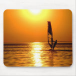 Silhouette of a windsurfer mouse pad