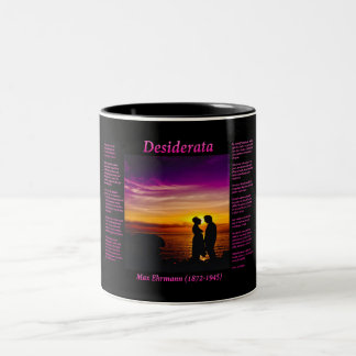 Silhouette of a young couple in love on the beach Two-Tone coffee mug