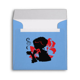 Silhouette of a Young female holding hot coffee Envelope