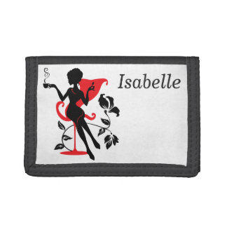 Silhouette of a Young female holding hot coffee Trifold Wallets
