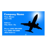 Silhouette of Airplane Against Clear Blue Sky Business Card Templates