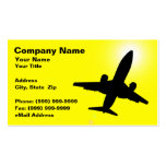 Silhouette of Airplane Against Yellow Sky Business Cards