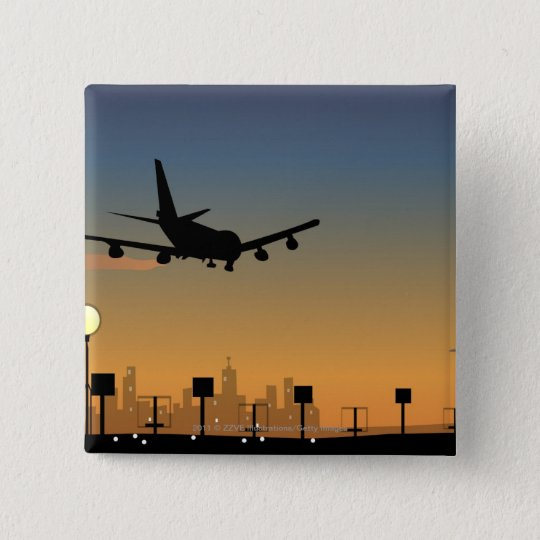 Silhouette of an airplane in flight pinback button