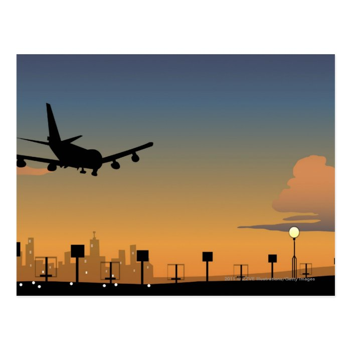 Silhouette of an airplane in flight postcard