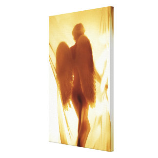 Silhouette of an angel with wings gallery wrapped canvas