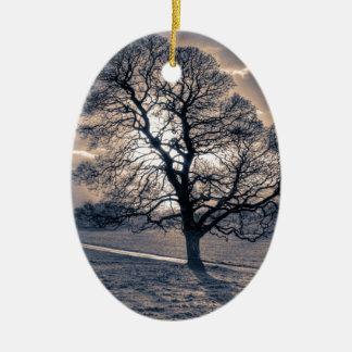 Silhouette of an old Oak tree Ceramic Ornament