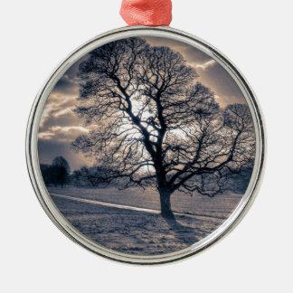 Silhouette of an old Oak tree Metal Ornament