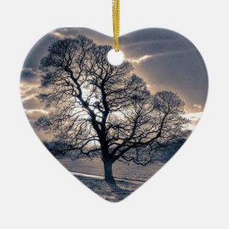 Silhouette of an old Oak tree Christmas Tree Ornaments