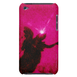 Silhouette of angel sculpture with sun in pink barely there iPod cover