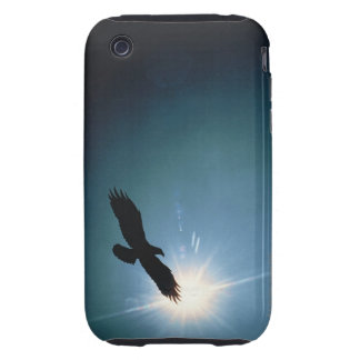 Silhouette of bald eagle flying in sky iPhone 3 tough cases